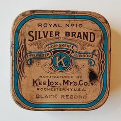 vintage typewriter ribbon Silver Brand by KeeLox. photo: Janine Vangool (Uppercase) http://www.flickr.com/photos/uppercaseyyc/sets/72157603733873729/with/2198761602/ #vintage #packaging #typography