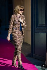 Anna Wintour after Schiaparelli fashion show. Shop this look (or similar) here: STYLE DU MONDE on Instagram @styledumonde, Pinterest, Twitter, Tumblr and Facebook