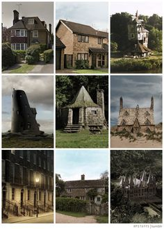 Harry Potter Grangers House, Privet Drive, The Burrow, Lovegoods House, Hagrid's Hut, Shell Cottage, Grimmauld Place, Godric's Hollow, Malfoys Mansion