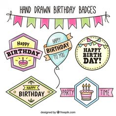 Calligraphy Birthday Card, Happy Birthday Hand Lettering, Happy Birthday Font, Happy Birthday Template, Happy Birthday Celebration, Birthday Card Drawing, Birthday Badge, Doodle Lettering, Diy Birthday Decorations