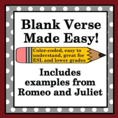 Make blank verse easy for students to understand with this color-coded PowerPoint presentation - activity and creative writing assignment included!