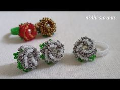 ⚜️ Button Rose Earrings + Ring/ Seed beads Jewellery/ Aretes/ Anillo Tutorial Diy (0477) - YouTube