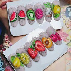 Food Nail Art, Fruit Nail Art, Gel Nail Art, Fruit Nail Designs, Nail Polish Designs, Spring Nails, Summer Nails, Watermelon Nail Art, Watermelon Nail Designs