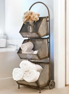 """Country Farm House Vintage inspired Galvanized 3 Bin Cart Metal Charming in bathroom, Kitchen 13""""W x 14""""D x 42""""T. Three bins are removable."""