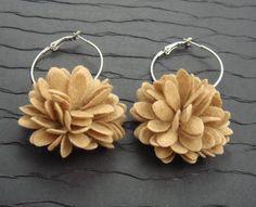 Felt Flower Hoop Earrings by AnshStudio on Etsy