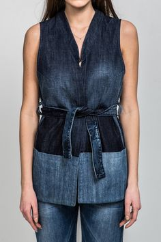 Upcycled denim vest Gracious Navy / navy blue denim / elegant