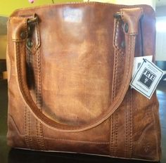 New Frye Melissa Tote Bag Cognac Distressed Antique Pull Up Leather Nwt 398