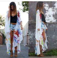 Floral kimono: Windsor White Romper Black heels http://bellanblue ...