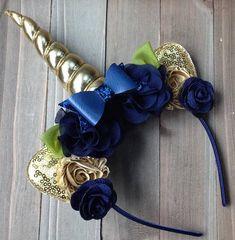 Unicorn Ears, Unicorn Headband, Navy Blue Flowers, Gold Flowers, Unicorns And Mermaids, Kanzashi, Disney Ears, Navy Gold, Minnie