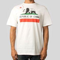 Republic of China Tee in White #munkone #upperplayground @Upper Playground #republicofchina #tshirt #panda #california #flag