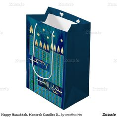 Star of David and Menorah Candles Design Gift Bags. Matching cards, postage stamps and other products available in the Jewish Holidays / Hanukkah Category of the artofmairin store at zazzle.com