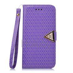 Leren iPhone hoesjes vind je bij ons! - #leather iphone 5 case flip | Tribal Grid Crystal Pattern Magnetic Flip Stand TPU+PU Leather Case for iPhone 6 Plus 6S Plus 5.5 inch With Strap (Purple) - http://www.ledereniphonehoesjes.nl/slimme-iphone-6-hoesjes/