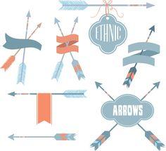 Ethnic elements arrows set vector