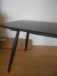 Chiltern Contract Table 2839BK  in Black & solid Oak 180cm x 75cm X H75CM
