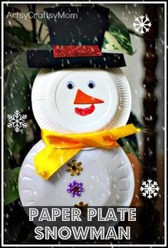 paper plate snowman craft christmas | 35 Creative and Fun DIY Snowman Decorations | Snowman Food Decoration ideas DIY Christmas Ornaments Creative and Fun DIY Snowman Decorations #ChristmasCrafts #Age7 10 #Age5 7