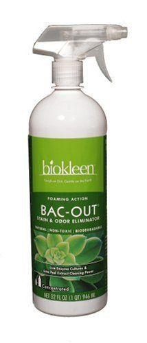 $83.88-$120.73 Baby Bi-O-Kleen Bac-Out Stain & Odor Eliminator with convenient sprayer attacks and removes the toughest stains and odors from pets, diapers, grease, drains (prevents clogs), and garbage disposals.  Unlike most enzyme products on the market that just mask odors, our unique live enzyme producing cultures attack stains and odors, removing them for good!