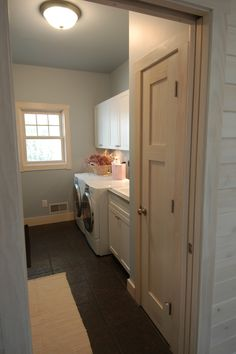 One side of the Laundry Room with a front loading washer & dryer along with wall cabinets, a utility sink and a broom closet Laundry Bathroom Combo, Pantry Laundry Room, Tiny Laundry Rooms, Downstairs Bathroom, Mud Rooms, Small Laundry, Laudry Room Ideas, Toilet Closet, Craftsman Cottage