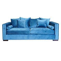 Colton Velvet 3 Seater Blue