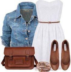 Whithe Dress/ Jacket Jeans