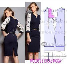 MOLDE DE VESTIDO-162 - Moldes Moda por Medida