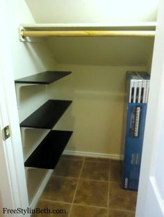 How to Build a Basic Shelf -- along the side of the under-stairs closet