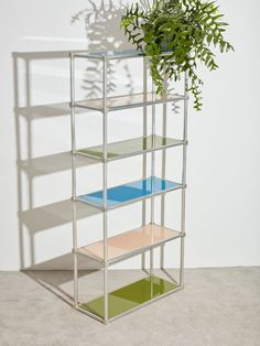 Etagere with Colorful Glass Shelves 1970s Furniture, Vintage Furniture, Glass Shelves, Colored Glass, Bookcase, Living Room, Home Decor, Rooms, Colorful