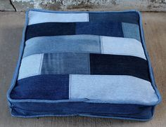 Denim Dog Bed Duvet with Hardwood Floor Inspired Denim Patch Top and Zig-Zag Denim Patch Bottom - Makes this Two Beds In One!  288012861 by AllintheJeans on Etsy