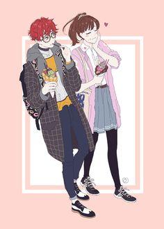 oh ya! a commission for @tokkimori ^7^ Seven x MC enjoying bubble waffle ice cream hehe