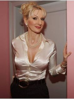mature lady in satin blouse