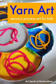 Yarn painting sensory process art for kids :: yarn art :: from the Art Spark online art course for children