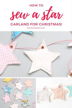 Are you ready to learn how to make a star garland & decorate your home for Christmas?! Find out how to make a beautiful star garland, whether you hand sew or use a sewing machine, this easy garland sewing pattern can me made in under an hour or two. Who doesn't love festooning their home?! They're so festive! This Sewing tutorial by Ayda for merry makings, the free craft magazine is awesome & you can find EVEN MORE tutorials on the site! #christmas #sewing #sewingpattern #sewinggarland…