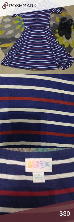 LuLaRoe Nicole dress This is a very gently loved gorgeous red, white, and blue striped Nicole style dress by LuLaRoe. Very stretchy material. LuLaRoe Dresses Midi