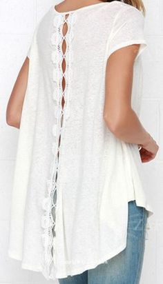 Love Love LOVE this Top! Comfy White With Lace High Low Short Sleeve T-shirt #Comfy #Summer #T_Shirt #Fashion