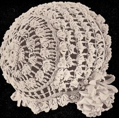 Vintage Roll Stitch Baby Cap Hat Bonnet Crochet Pattern RollStitchBB