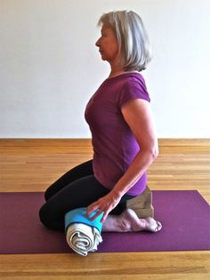 Virasana with knee protection propping