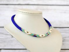 blue necklace seed bead necklace choker necklace statement necklace beaded jewelry bohemian necklace gift for mom gift for wife gift for her Add this bold necklace to a maxi dress or simple jeans and a t-shirt for a unique look that will get you noticed. Diameter 0.3 inch (0,7 cm)