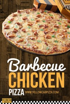 Order this now at www.yellowcabpizza.com :) My Favorite Food, Favorite Recipes, Barbecue Chicken Pizza, Pizza Company, Pizza Special, Yellow Car, Pizza Party, Good Pizza, Cheers
