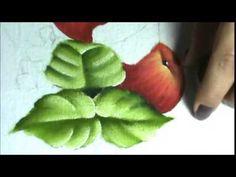 """Como pintar folhas verdes e folhas envelhecidas - continuação da aula """"Como pintar maçã vermelha"""" - YouTube"""