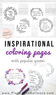 Look at these beautiful inspirational coloring pages for grown ups! Coloring is my favorite thing to do to relax. Try it out too!
