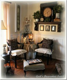 Gail's Decorative Touch - this woman is an interior decorator. I just love her decorating style! This is a really cute nook... notice the round table double covered with top in burlap.