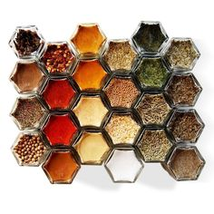 Standard Spice Kit Includes: -:- 24 hexagon magnetic jars for your fridge -:- Filled with ORGANIC spices -:- Hand-stamped lids, labeled with spice names -:- Internal food-safe magnet cap keeps spices