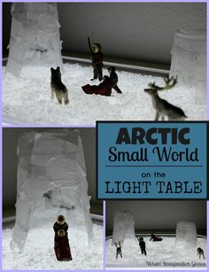Arctic small world play with igloos and Eskimos on the light table! Hands-on learning activity for imaginative play! Sensory play that teaches preschoolers about arctic life! Winter Crafts For Kids, Winter Fun, Winter Theme, Preschool Winter, Preschool Ideas, Winter Activities, Toddler Activities, Travel Activities, Learning Activities