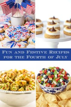 Ten easy and festive recipes, perfect for celebrating the Fourth of July and enjoying the holiday with family and friends! via @cafesucrefarine Summer Recipes, Holiday Recipes, Holiday Foods, Refreshing Desserts, Fun Desserts, Easy Delicious Recipes, Yummy Food, Watermelon Mint Lemonade, Blossom Cookies
