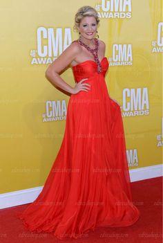 Lauren Alaina CMA Awards Beaded Empire Maxi long Red Chiffon Celebrity Prom dress