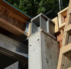 STRUCTURE-steel to concr. « home building in Vancouver Steel Beams, Steel House, Concrete Wall, Decks, Vancouver, Building A House, Budget, Metal, Wood