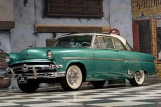 """1954 Ford, Crestline Skyliner Glass Top  36950.00 EUR  In 1952 the Ford Crestline became the """"Top of the Line"""" model of Ford. This 1954 Ford Crestline is a Skyliner equipped with a glass top.  The Ford Crestline models are already nice and rare cars but a Skyliner in this condition is absolutely rare.  The paint of the Ford Crestline is in a good condition and the chrome shines nice.  The engine is a V8 with 3.9 liter and 130HP ..  http://www.collectioncar.com/detailed.php?ad=638.."""