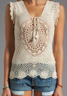 Crochet Top-no pattern, inspiration only Pull Crochet, Gilet Crochet, Crochet Motifs, Crochet Shirt, Crochet Cardigan, Love Crochet, Irish Crochet, Beautiful Crochet, Crochet Lace