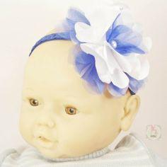 Fita elástica azul com flor