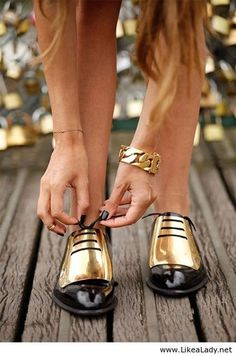 Gold and Black Brogues