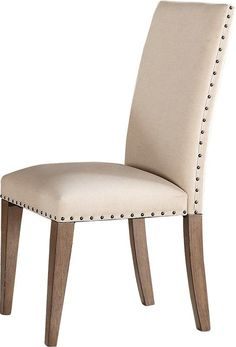Featuring natural cotton upholstery with bronze nailhead trim and weathered-washed wood legs, this set of two parsons chairs add a touch of country charm to a traditional design.
